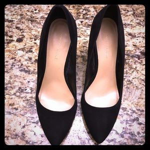Sake Fifth Avenue Black Suede Wedges-US 8